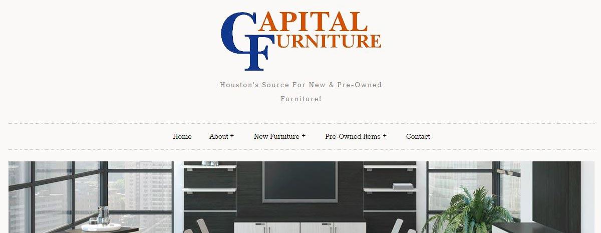 screen capture of Capital Furniture website in Houston, TX