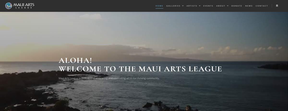 screen capture of Maui Arts League website