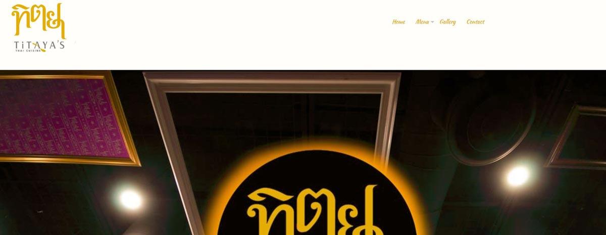 screen capture of Titaya's Thai Cuisine hand-coded website